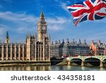 Big Ben With Flag Of England In ...