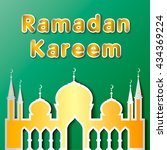 ramadan kareem with mosque on... | Shutterstock .eps vector #434369224