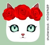 Stock vector white cute cat with buds of roses 434369689