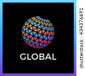 triangle pixel global media... | Shutterstock .eps vector #434376691
