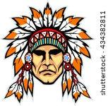 indian head mascot. native... | Shutterstock .eps vector #434382811