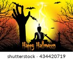 happy halloween background with ... | Shutterstock .eps vector #434420719