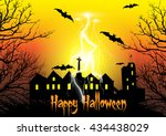 halloween background with... | Shutterstock .eps vector #434438029