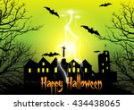 halloween background with... | Shutterstock .eps vector #434438065