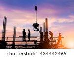 silhouette engineer standing... | Shutterstock . vector #434442469