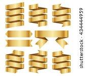 gold banner ribbon vector set...   Shutterstock .eps vector #434444959