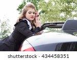 girl in an evening dress on a... | Shutterstock . vector #434458351