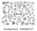 set of cute hand drawn doodle | Shutterstock .eps vector #434469127