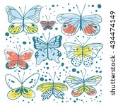 set of butterfly. hand drawn... | Shutterstock .eps vector #434474149