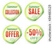 summer sale stickers or labels... | Shutterstock .eps vector #434483125