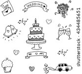 wedding party doodle flat on... | Shutterstock .eps vector #434485651