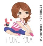 cute girl vector   i love yoga  ... | Shutterstock .eps vector #434488195