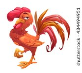 funny cartoon red cock  comic... | Shutterstock .eps vector #434494951