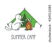 summer camp. doodle vector... | Shutterstock .eps vector #434511085