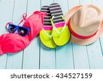 set of beach clothes. pink...   Shutterstock . vector #434527159