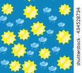 cartoon sun and snow seamless... | Shutterstock .eps vector #434528734