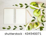 apples with tape measure  open...   Shutterstock . vector #434540071