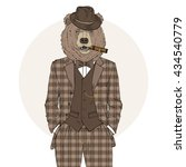 bear man dressed up in retro... | Shutterstock .eps vector #434540779