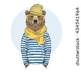 funny bear dressed up in frock  ... | Shutterstock .eps vector #434541964