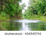 a watter channel in the danube... | Shutterstock . vector #434545741