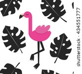 cute flamingo card design.... | Shutterstock .eps vector #434551777