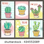 set of bright plants cards ... | Shutterstock .eps vector #434552089