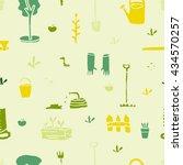 garden tools set. seamless... | Shutterstock .eps vector #434570257