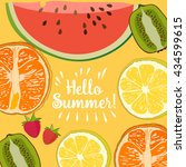 hello summer border of set... | Shutterstock .eps vector #434599615