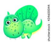 cartoon cute dinosaur. vector... | Shutterstock .eps vector #434600044