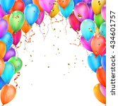 birthday template with flying... | Shutterstock .eps vector #434601757