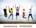 teenagers friends beach party... | Shutterstock . vector #434602681