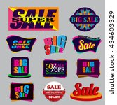 set of colorful modern sale... | Shutterstock .eps vector #434603329