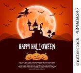 happy halloween card with... | Shutterstock . vector #434606347