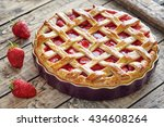 baked strawberry pie cake sweet ... | Shutterstock . vector #434608264