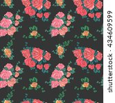 vintage roses pattern on dark... | Shutterstock . vector #434609599