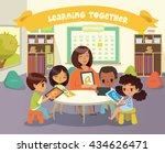 group of children and tutor... | Shutterstock .eps vector #434626471
