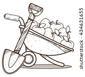 garden wheelbarrow with apples... | Shutterstock .eps vector #434631655