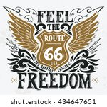 feel the freedom. route 66.... | Shutterstock .eps vector #434647651
