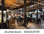 madrid   may 10  people eat in... | Shutterstock . vector #434653939
