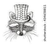 hand drawn raccoon | Shutterstock .eps vector #434658811