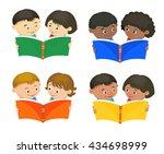 cartoon kids reading book boy... | Shutterstock .eps vector #434698999
