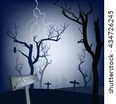 dead trees in cemetery... | Shutterstock .eps vector #434726245