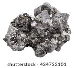 Small photo of macro shooting of natural rock - druse of black crystals of magnetite mineral stone (iron ore) isolated on white background