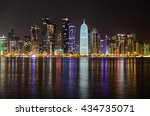Stock photo doha skyline at night qatar middle east 434735071
