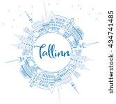 outline tallinn skyline with... | Shutterstock . vector #434741485