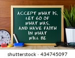 word quote accept what is let... | Shutterstock . vector #434745097