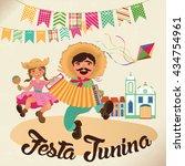 festa junina illustration  ... | Shutterstock .eps vector #434754961