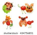 creative funny vegetable food... | Shutterstock . vector #434756851