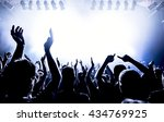 silhouettes of concert crowd in ... | Shutterstock . vector #434769925