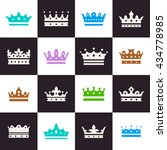 colored crown icons set....   Shutterstock .eps vector #434778985